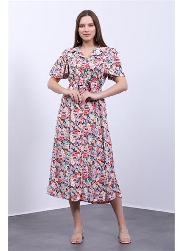 Deri Effect Kadın Gömlek Elbise Kolları Volanlı Çiçek Desenli Renkli
